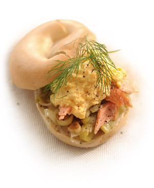 Bagels filled with Hot Smoked Salmon, Buttered Leeks and Scrambled eggs