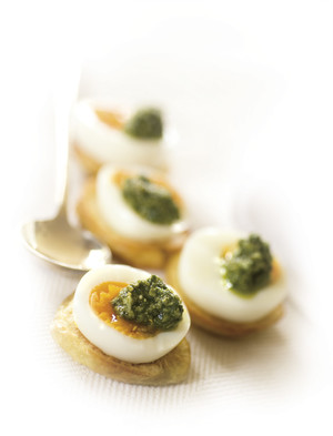 Jersey Benny Crostini with Egg and Basil Pesto
