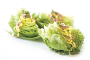 Lettuce Wedges with Processor Hollandaise and Ham