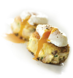 Smoked Fish Cakes with Poached Eggs